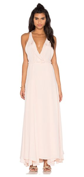 KENDALL + KYLIE Ruffle Wrapped Maxi Dress in blush - Poly blend. Dry clean only. Fully lined. Wrap front with...
