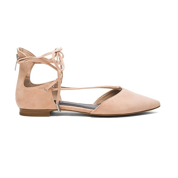 KENDALL + KYLIE Sage Flat in beige - Suede upper with man made sole. Lace-up front with wrap...