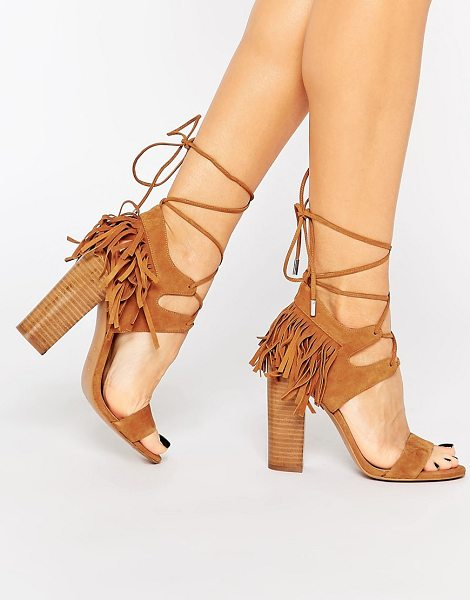 KENDALL + KYLIE Kendall & Kylie Saree Tan Suede Ghillie Heeled Sandals in tan - Heels by Kendall Kylie, Suede upper, Lace-up closure,...