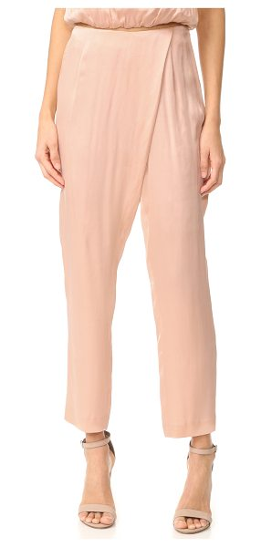 KENDALL + KYLIE silk draped trousers in rose cloud - Fluid silk KENDALL + KYLIE pants in a slouchy cut....