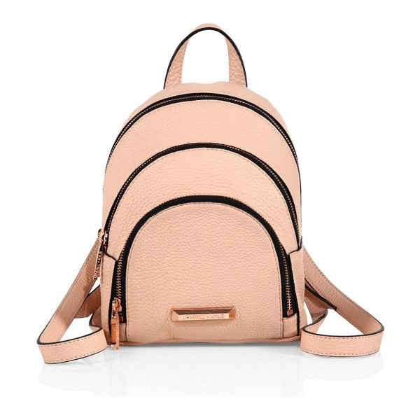 KENDALL + KYLIE sloane mini leather backpack in rosecloud - Dual-zip pebbled leather backpack in mini version. Top...