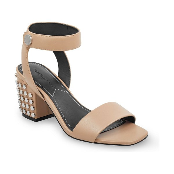 KENDALL + KYLIE sophie studded block heel sandals in natural - Leather sandals with a studded block heel. Self covered...