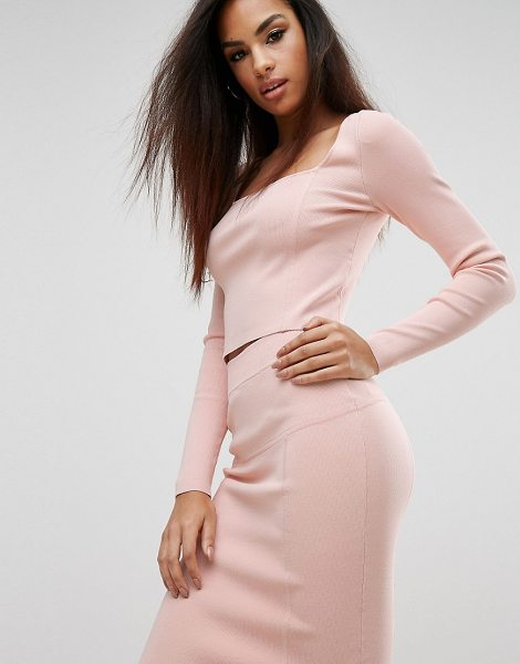 KENDALL + KYLIE Square Neck Long Sleeve Top in pink - Top by Kendall+ Kylie, Ribbed stretch knit, Square neck,...