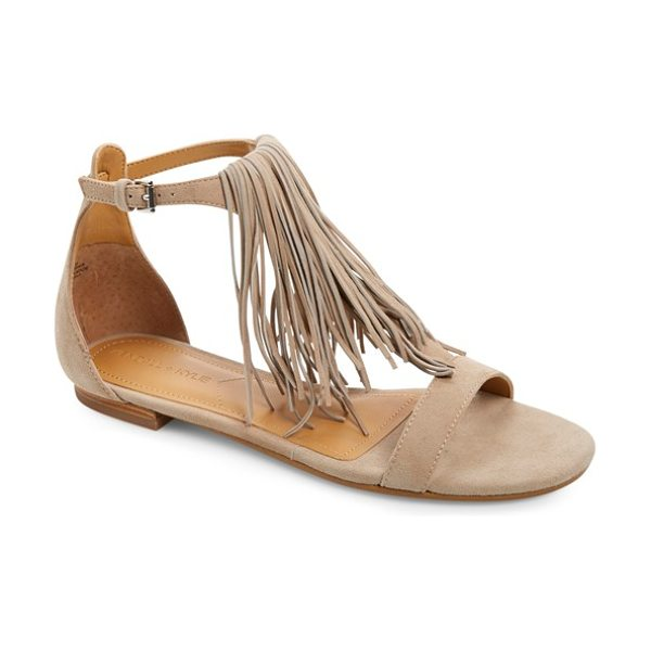 KENDALL + KYLIE tessa fringe sandal in taupe suede - Long, soft fringe dusts the top of your foot in a flat...