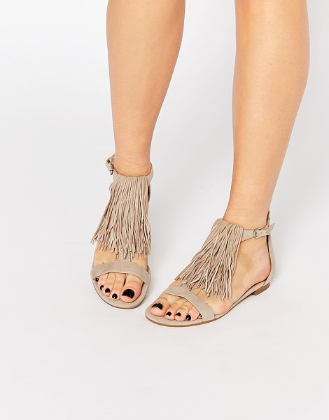 KENDALL + KYLIE Kendall & Kylie Tessa Suede Nude Fringe Flat Sandals in beige - Sandals by Kendall Kylie, Suede upper, Open toe design,...