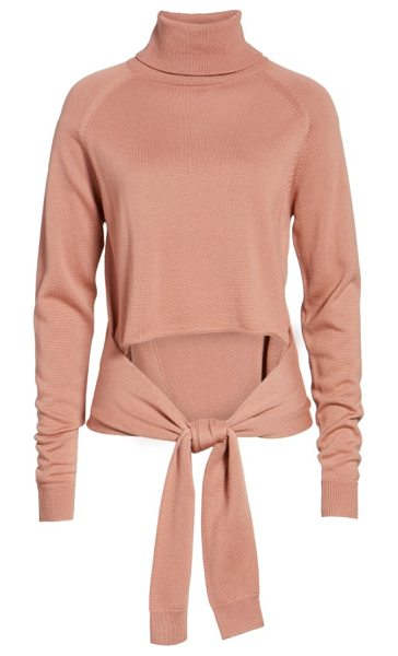 KENDALL + KYLIE tie front turtleneck sweater in rose - Just because you cover up doesn't mean you can't flash a...