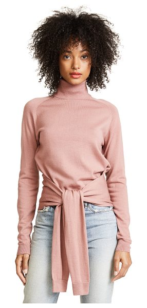 KENDALL + KYLIE tie front turtleneck in rose - Wide straps tie into a bow at the waist on this delicate...
