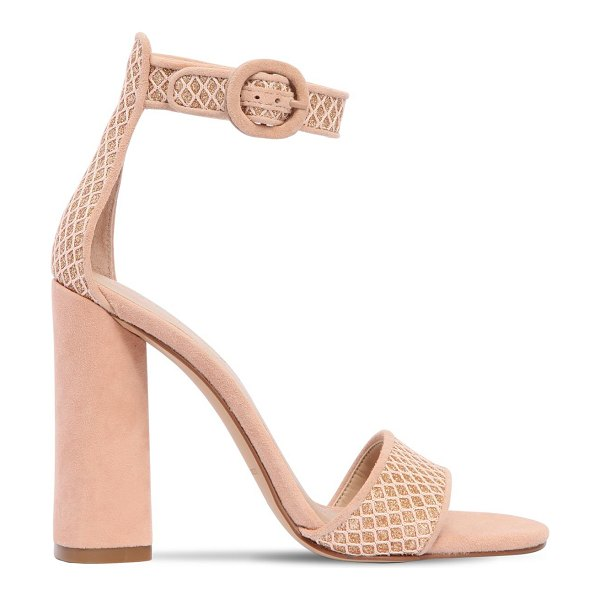 KENDALL+KYLIE 110mm giselle glitter & mesh sandals in nude - 110mm Suede covered heel. Glitter and mesh upper....