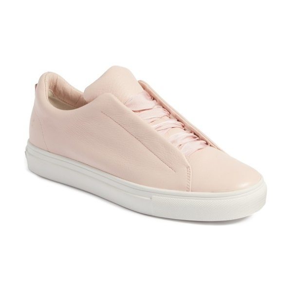 KENNEL AND SCHMENGER kennel & schmenger basket sneaker in rose - Tonal ribbon laces elevate a street-chic sneaker crafted...