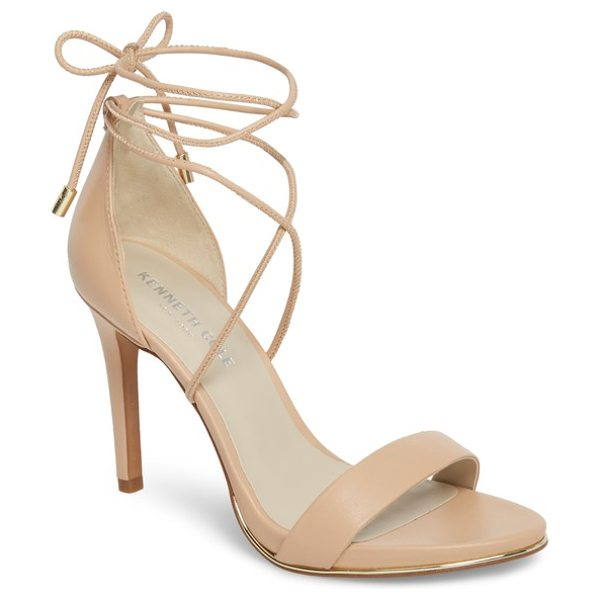 KENNETH COLE berry wraparound sandal - A towering stiletto lifts a barely there suede sandal...