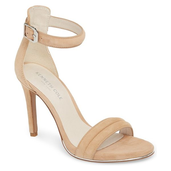 Kenneth Cole 'brooke' sandal in beige - A stylish sandal grounded by a slender wrapped heel...