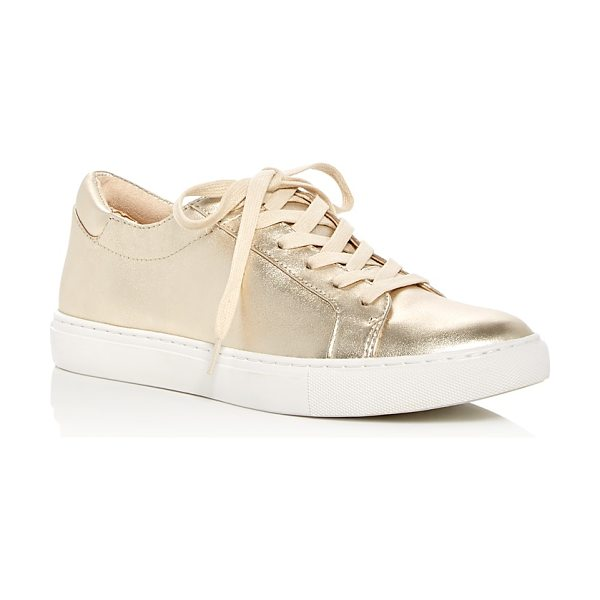 Kenneth Cole Kam Metallic Lace Up Sneakers in soft gold - Kenneth Cole Kam Metallic Lace Up Sneakers-Shoes