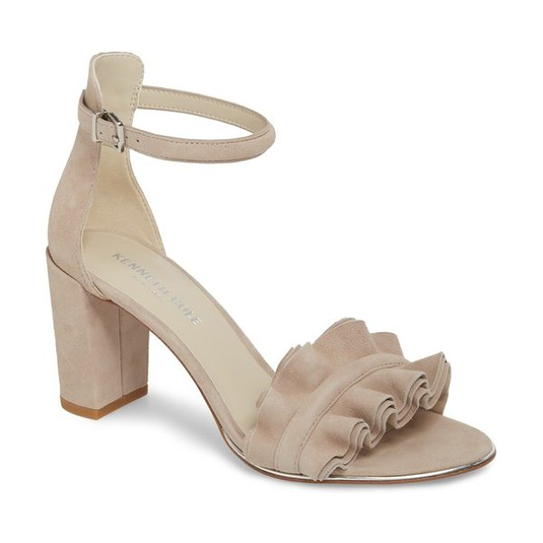 Kenneth Cole langley sandal in mauve suede - A ruffled toe strap distinguishes a playful sandal...