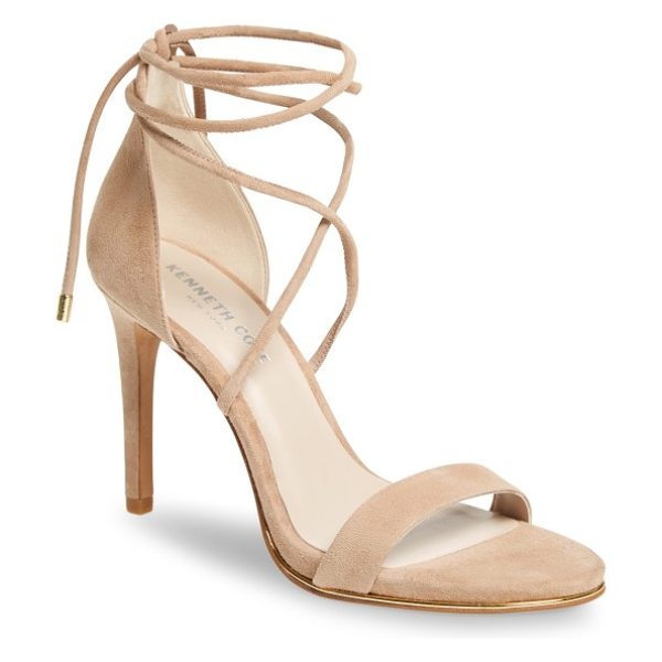 Kenneth Cole berry wraparound sandal in almond suede - A towering stiletto lifts a barely there suede sandal...