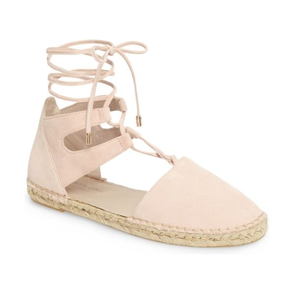 Kenneth Cole beverly espadrille flat in rose suede - A padded footbed makes this espadrille-trimmed flat with...