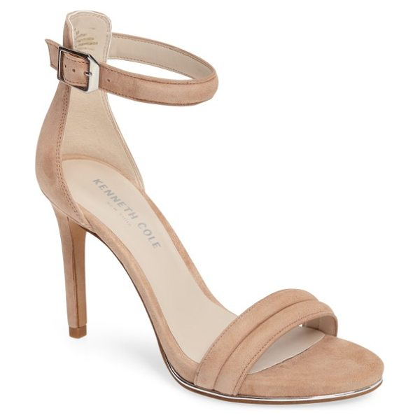 Kenneth Cole 'brooke' ankle strap sandal in buff suede - A sliver of shimmering metallic leather licks the sole...