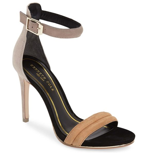 Kenneth Cole brooke ankle strap sandal in taupe/ cashew - A sliver of shimmering metallic leather licks the sole...