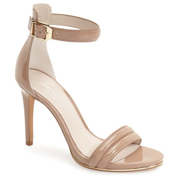 KENNETH COLE 'brooke' ankle strap sandal - A sliver of shimmering metallic leather licks the sole...