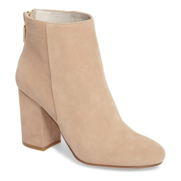 Kenneth Cole caylee bootie in almond suede - Clean, uncomplicated lines define a minimalist bootie...