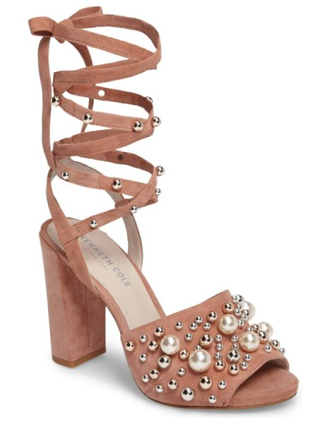 Kenneth Cole dierdre embellished sandal in blush suede - Mirror-finish dome studs and imitation pearls pepper the...
