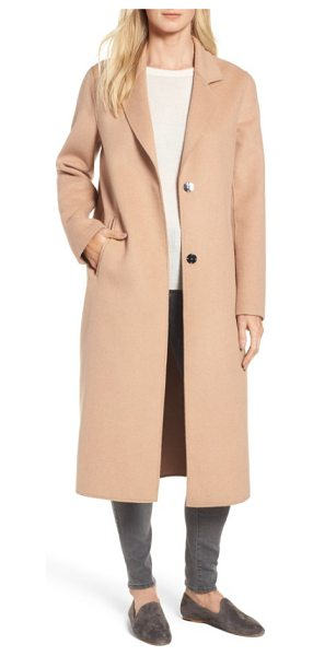 Kenneth Cole double face wool blend long coat in camel - Unfettered design brings an enduring and elegant look to...
