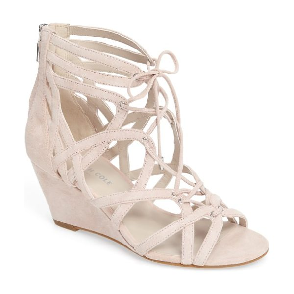 Kenneth Cole 'dylan' wedge sandal in rose suede - A stylish gladiator sandal set on a covered wedge heel...