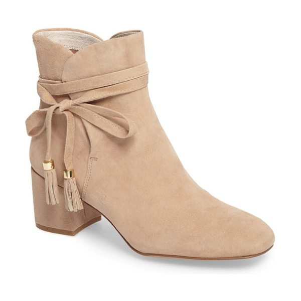 KENNETH COLE estella tassel tie bootie - Beaded and tasseled ties wrap around the ankle of a...
