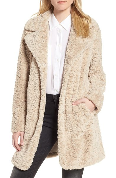Kenneth Cole faux fur coat in sand - Silky-soft faux fur is clipped and styled to resemble...