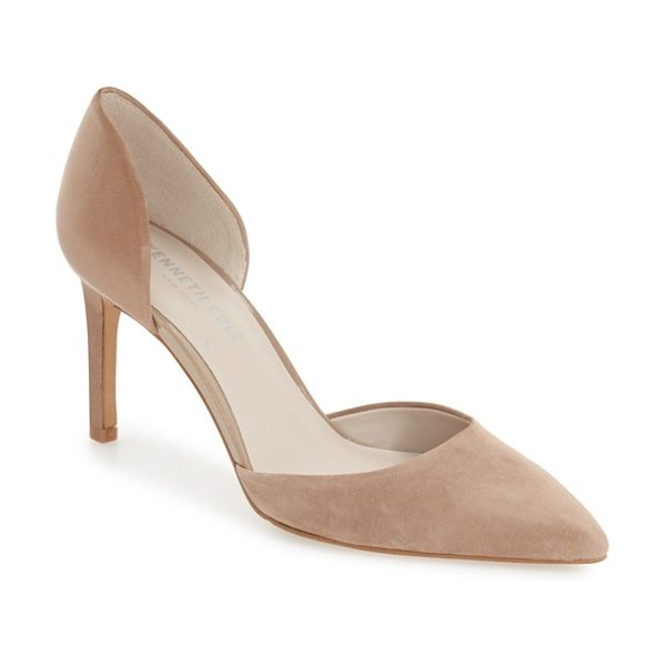 KENNETH COLE gem dorsay pointy toe pump in cafe suede - This wardrobe staple pump with a classic d'Orsay profile...