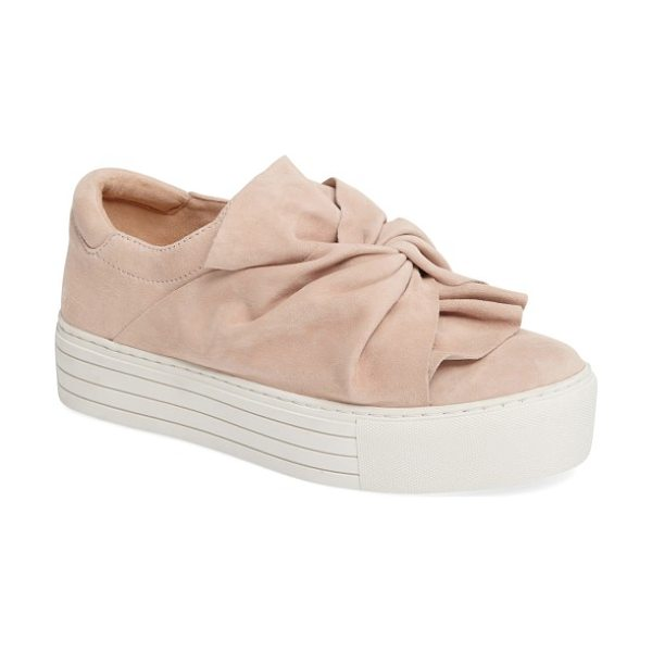 Kenneth Cole kenneth cole aaron twisted knot flatform sneaker in rose suede - Origami-inspired knotting adds a gorgeous, soft-sculpted...