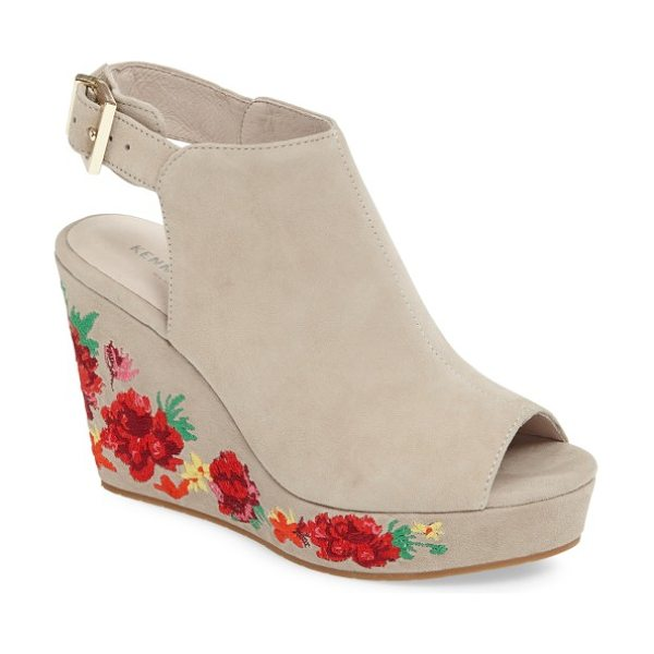KENNETH COLE olani embroidered wedge sandal - Summery flowers embroidered in brilliant reds bloom...