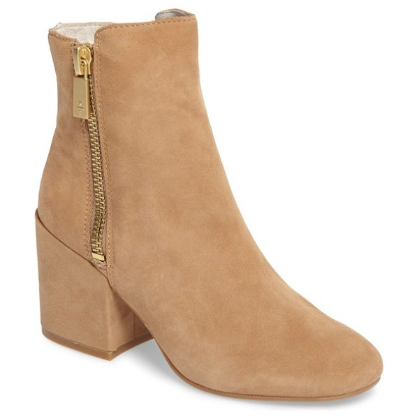 Kenneth Cole rima bootie in almond suede - A stepped topline balances the slightly oversized block...