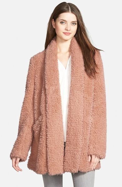Kenneth Cole 'teddy bear' faux fur clutch coat in blush - An open-front, shawl-collar coat in a versatile...