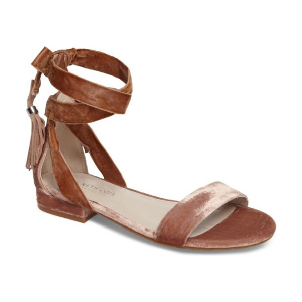 Kenneth Cole valen tassel lace-up sandal in blush velvet - Welcome warmer weather with this fun, flirty sandal-the...