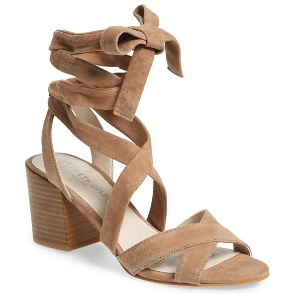 Kenneth Cole 'victoria' leather ankle strap sandal in cafe suede - A wrapped block heel lifts a trend-right suede sandal...