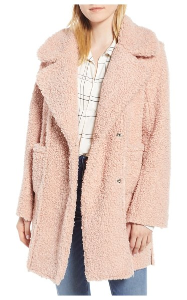 Kenneth Cole notch collar curly faux shearling coat in pink - When the temps go low, you go high-pile fleece in this...