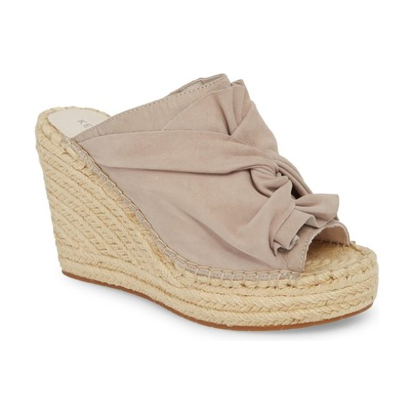 Kenneth Cole odele espadrille wedge in mauve/ mauve suede - An espadrille-wrapped wedge adds leg-lengthening height...