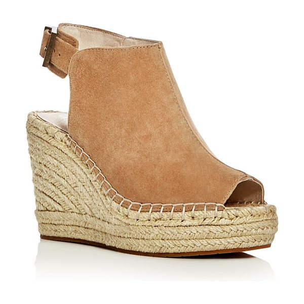 Kenneth Cole Olivia Suede Espadrille Wedge Platform Sandals in almond - Kenneth Cole Olivia Suede Espadrille Wedge Platform Sandals-Shoes
