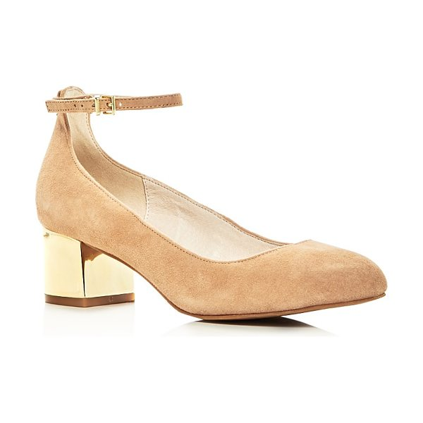 Kenneth Cole Thalia Ankle Strap Metallic Block Heel Pumps in buff/gold - Kenneth Cole Thalia Ankle Strap Metallic Block Heel Pumps-Shoes