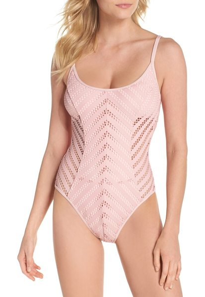 KENNETH COLE tough luxe one-piece swimsuit - Openwork crochet adds strategic coverage and sleek...