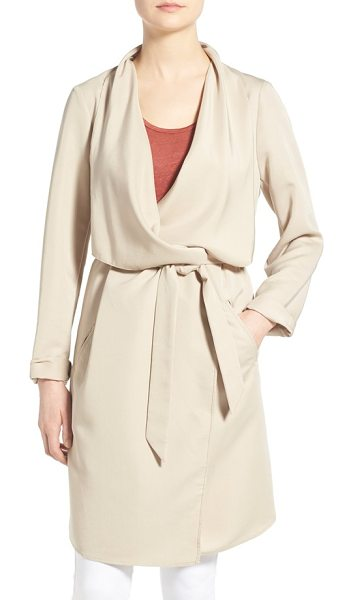 Kensie belted drape front trench coat in sand - The beautiful drape of this go-to trench coat is...
