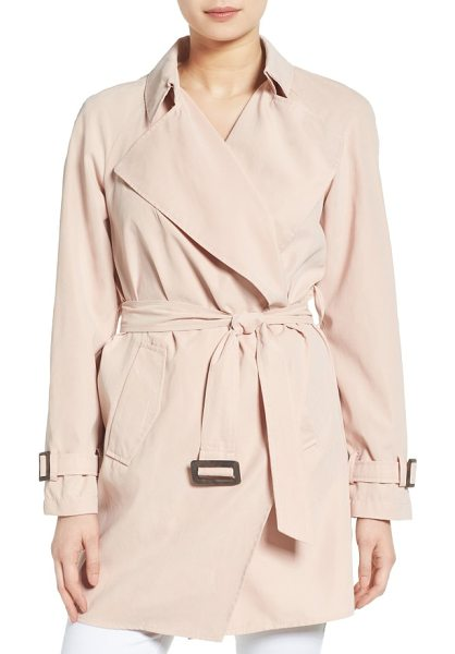 Kensie belted drapey trench coat in blush - The beautiful drape of this go-to trench coat is...
