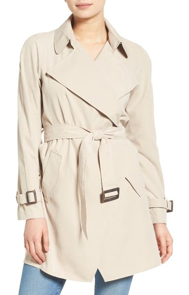 Kensie belted drapey trench coat in sand - The beautiful drape of this go-to trench coat is...