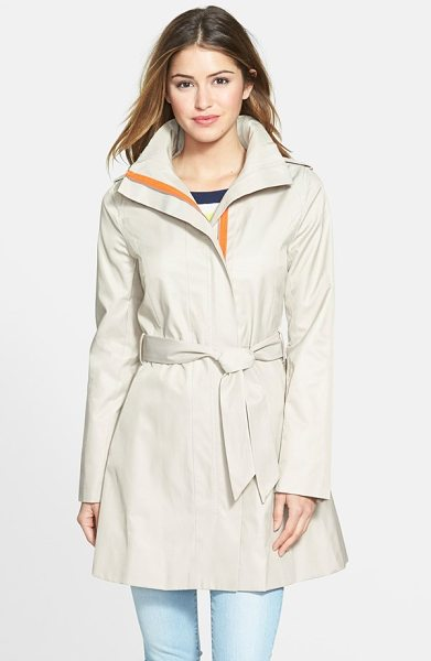 Kensie contrast trim belted trench coat in khaki - Bright contrast peeks out from the concealed placket of...