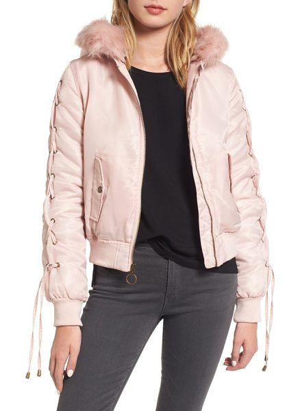 Kensie lace-up sleeve quilted bomber jacket in blush - A cozy choice for cold days, this quilted bomber sports...
