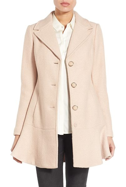 Kensie notch lapel peplum coat in nude - The graceful tailoring and rippling peplum hem of this...