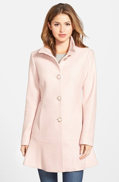KENSIE single breasted ruffle hem coat - A hearty wool-infused blend warms a stand-collar coat...