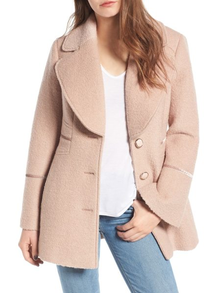 Kensie velvet trim bell sleeve coat in nude - At once retro and totally on-trend, a wool-enriched coat...