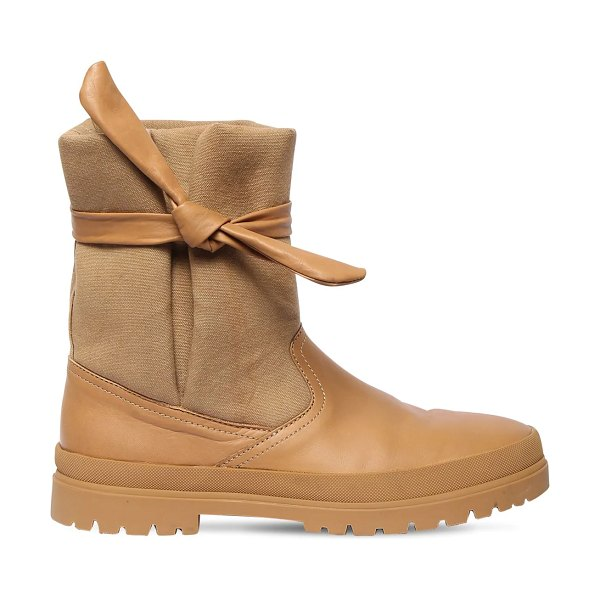 KENZO 25mm leather & cotton canvas ankle boots in camel