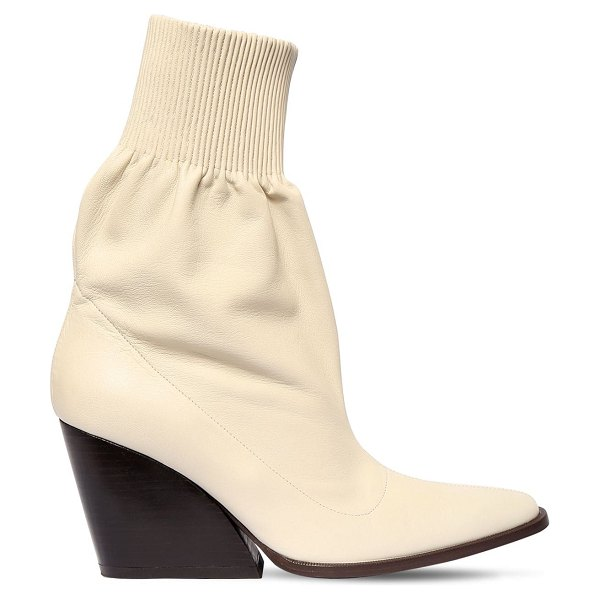 KENZO 85mm leather ankle boots in off-white